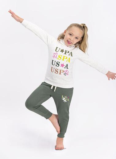 U.S. Polo Assn. Kız Çocuk Uzun Kollu Kapüşonlu Eşofman Takımı Somon Krem